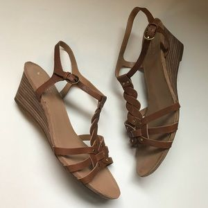 Franco Sarto | Size 10 brown strappy sandal wedges